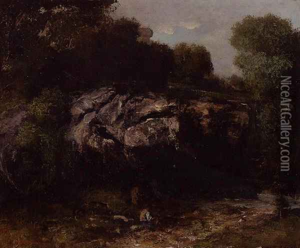 Rocky Landscape with Figure Oil Painting - Gustave Courbet