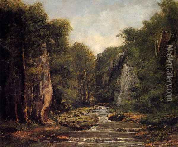 The River Plaisir-Fontaine Oil Painting - Gustave Courbet