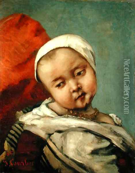 Head of a Baby, 1865 Oil Painting - Gustave Courbet