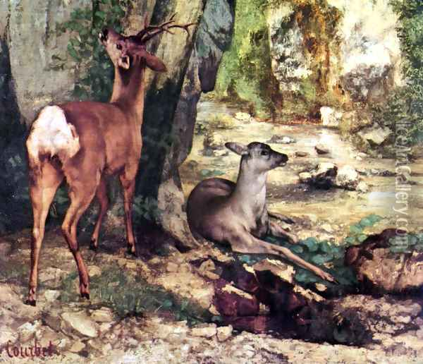 A Thicket of Deer at the Stream of Plaisir-Fountaine, Detail Oil Painting - Gustave Courbet