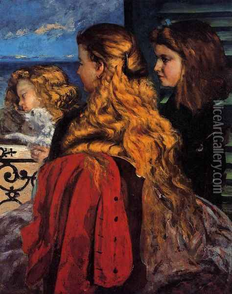 Three English Girls at a Window Oil Painting - Gustave Courbet