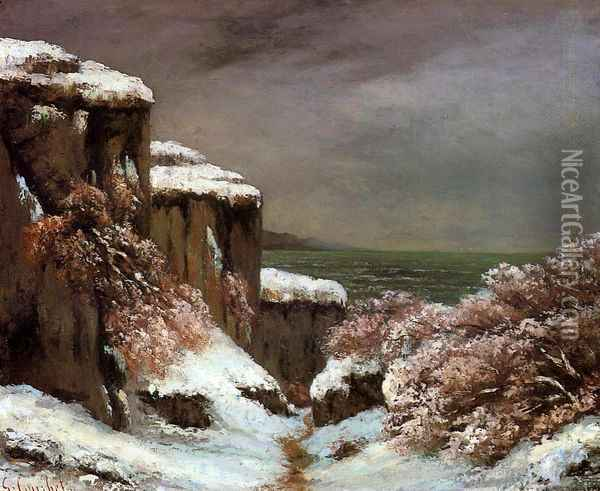 Cliffs by the Sea in the Snow Oil Painting - Gustave Courbet