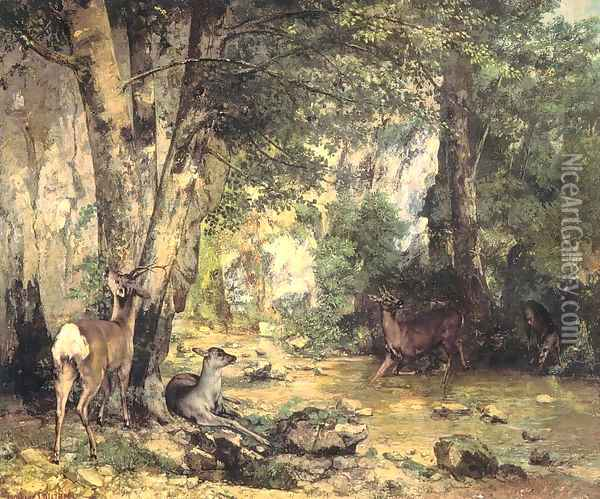 Shelter of the Roe Deer at the Stream of Plaisir-Fontaine, Doubs Oil Painting - Gustave Courbet