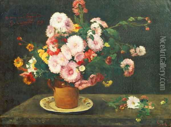 Still life with asters Oil Painting - Gustave Courbet