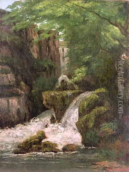 Waterfall in the Ornans Rocks Oil Painting - Gustave Courbet