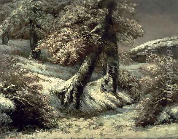 Trees in the Snow, c.1865 Oil Painting - Gustave Courbet