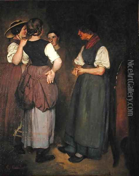 The Stories of Grandmother Salvan, 1847 Oil Painting - Gustave Courbet