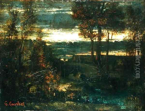 Evening Landscape Oil Painting - Gustave Courbet