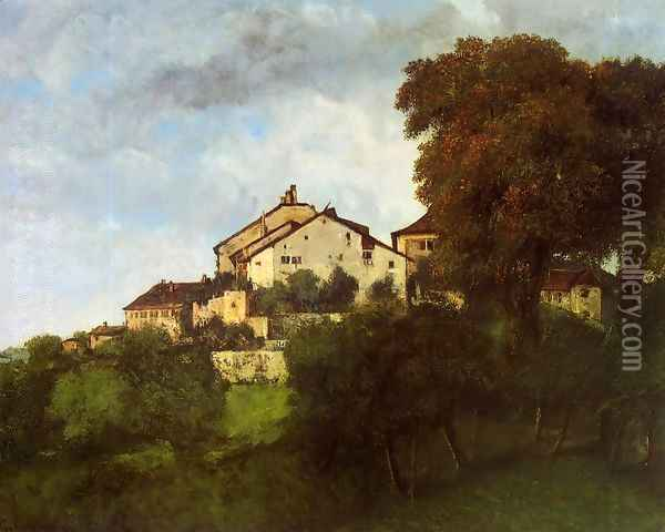 The Houses of the Chateau D'Ornans Oil Painting - Gustave Courbet