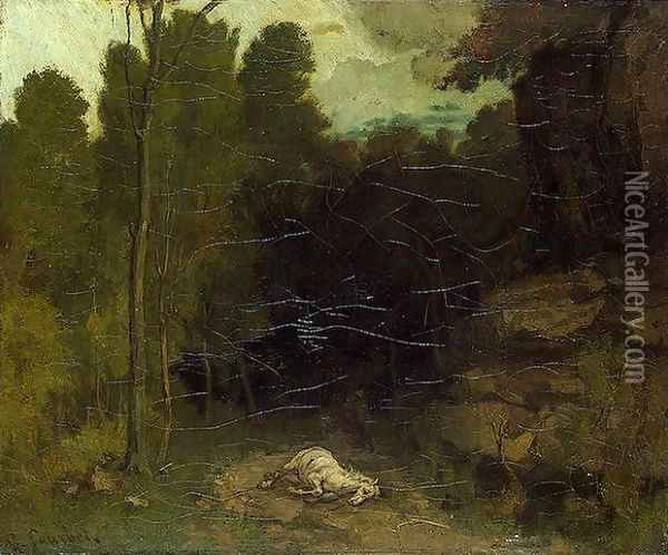 Landscape with a Dead Horse Oil Painting - Gustave Courbet