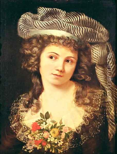 Portrait of a young woman in the style of Labille-Guiard Oil Painting - Gustave Courbet