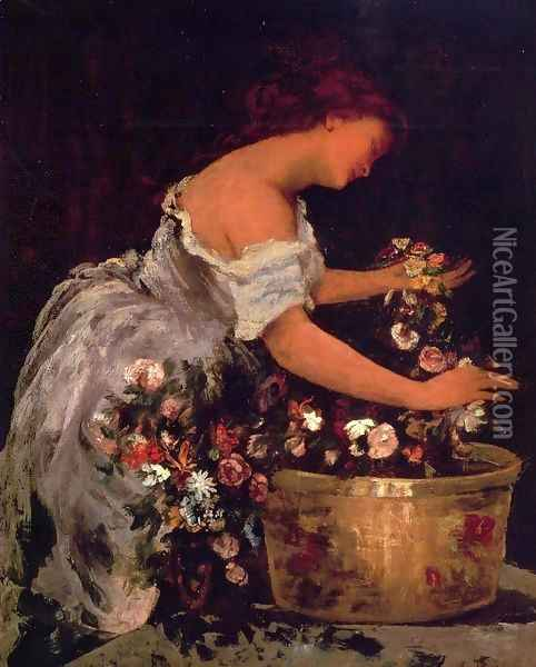 Young Girl Arranging Flowers Oil Painting - Gustave Courbet