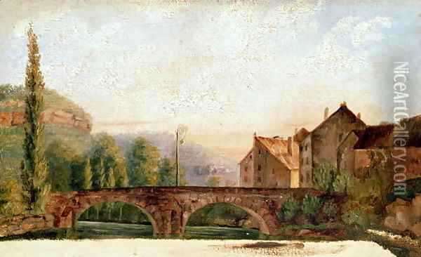 The Pont de Nahin at Ornans, c.1837 Oil Painting - Gustave Courbet