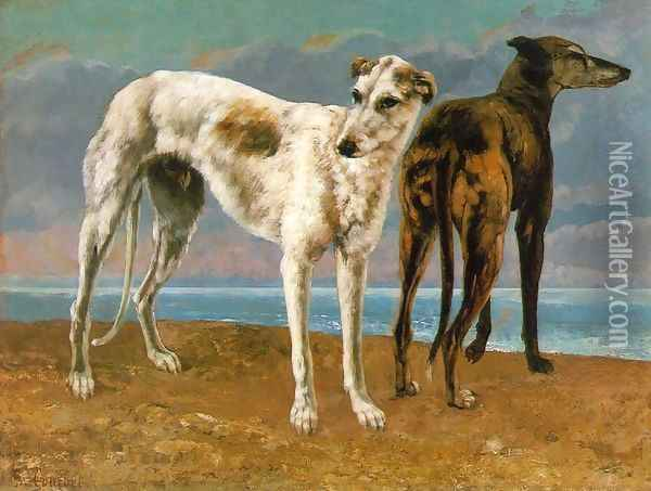 Count de Choiseul's Greyhounds Oil Painting - Gustave Courbet