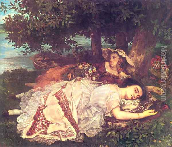 The Young Ladies on the Banks of the Seine (or Summer) Oil Painting - Gustave Courbet