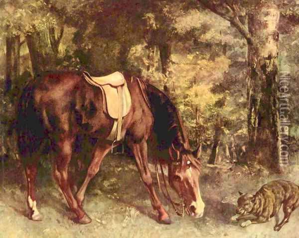 Horse in the forest Oil Painting - Gustave Courbet