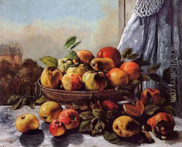 Still Life: Fruit Oil Painting - Gustave Courbet