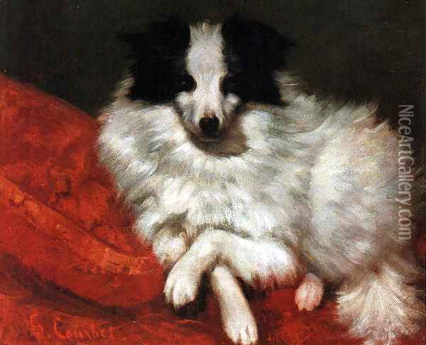 Sitting on cushions dog Oil Painting - Gustave Courbet