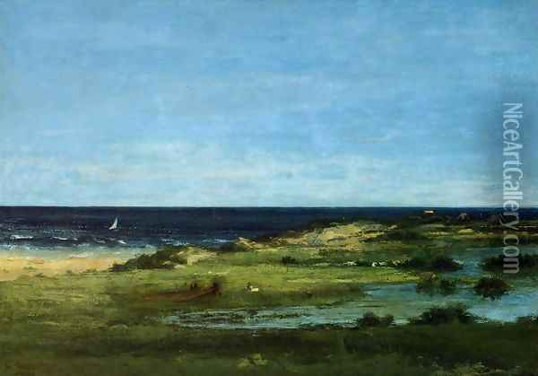 The beach Oil Painting - Gustave Courbet