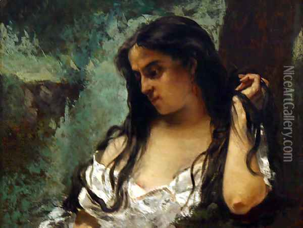 Gypsy in Reflection Oil Painting - Gustave Courbet