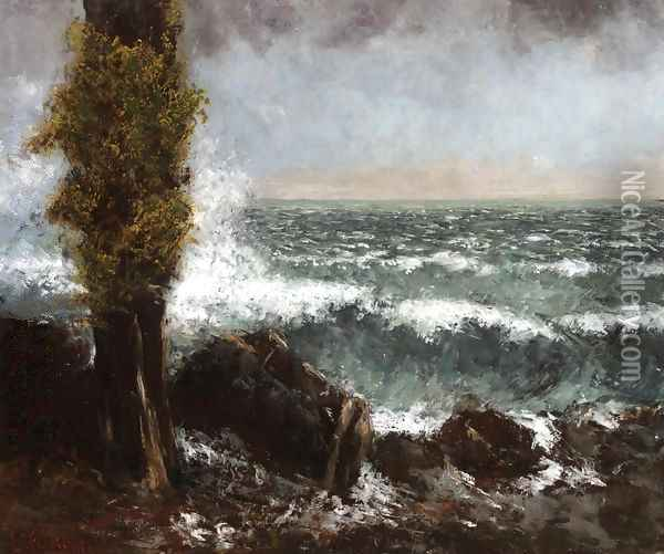 Seascape, the Poplar Oil Painting - Gustave Courbet