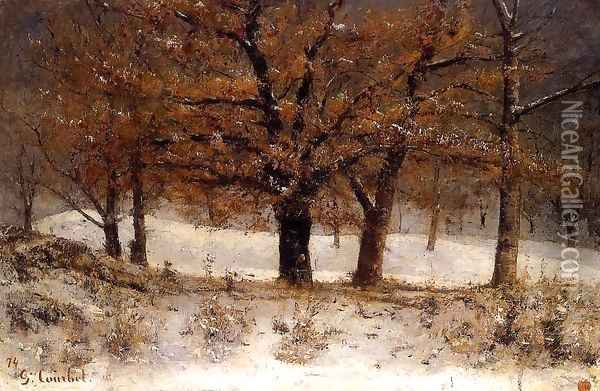 Landscape with snow Oil Painting - Gustave Courbet
