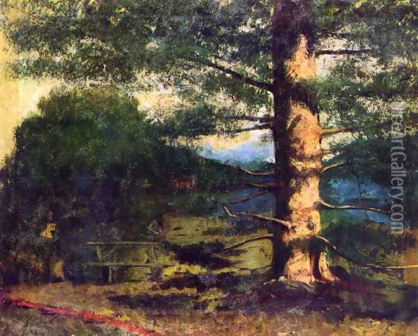 Landscape with tree Oil Painting - Gustave Courbet