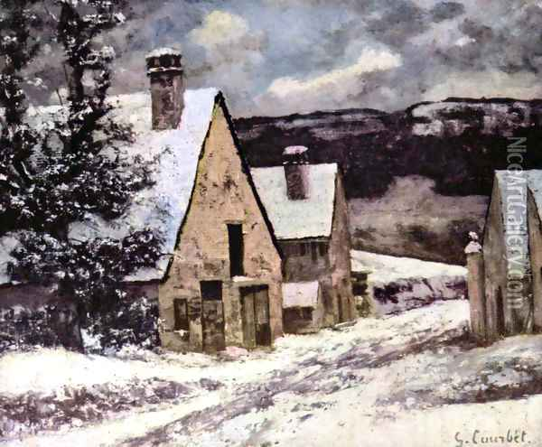 Village at winter Oil Painting - Gustave Courbet