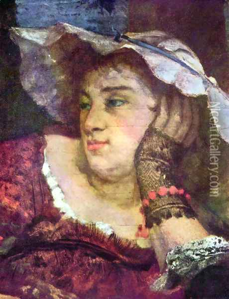 The Young Ladies on the Banks of the Seine, detail Oil Painting - Gustave Courbet