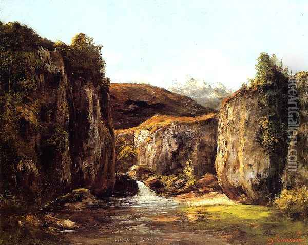 Landscape: The Source among the Rocks of the Doubs Oil Painting - Gustave Courbet