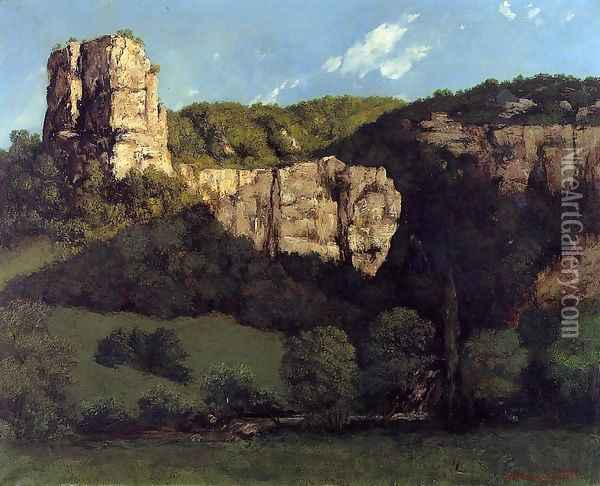 Landscape: Bald Rock in the Valley of Ornans Oil Painting - Gustave Courbet