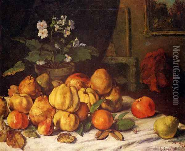 Still Life: Apples, Pears and Primroses on a Table Oil Painting - Gustave Courbet