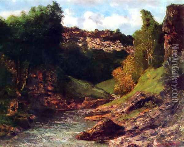 Rocky Landscape Oil Painting - Gustave Courbet