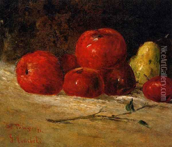 Still Life: Apples and Pears Oil Painting - Gustave Courbet