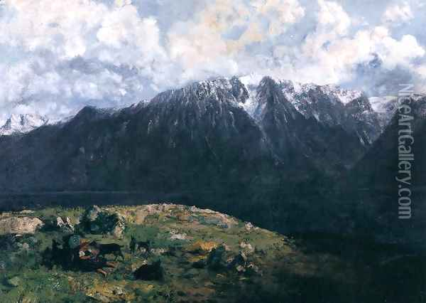 Panoramic View of the Alps, Les Dents du Midi Oil Painting - Gustave Courbet