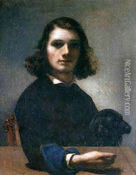 Self-Portrait (Courbet with Black Dog) Oil Painting - Gustave Courbet
