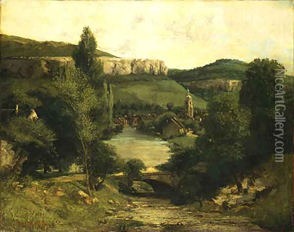 View of Ornans probably mid 1850s Oil Painting - Gustave Courbet