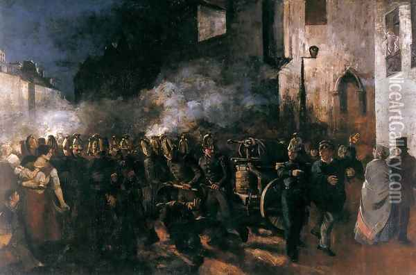 Firemen Running to a Fire Oil Painting - Gustave Courbet
