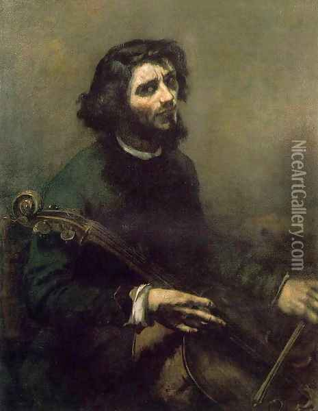Self-Portrait (The Cellist) Oil Painting - Gustave Courbet
