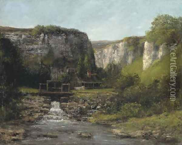 Jura Landscape with a Watermill Oil Painting - Gustave Courbet