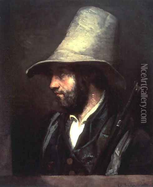 Portrait of a Hunter Oil Painting - Gustave Courbet