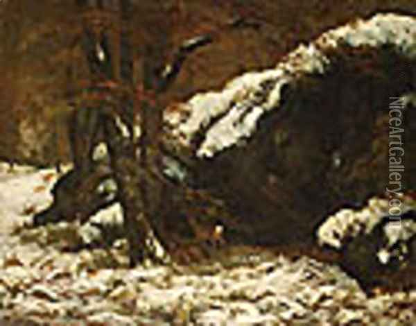 The Deer ca. 1865 Oil Painting - Gustave Courbet