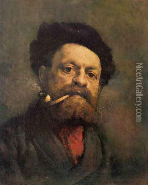 Man with Pipe Oil Painting - Gustave Courbet