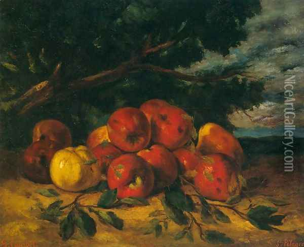 Red Apples at the Foot of a Tree Oil Painting - Gustave Courbet