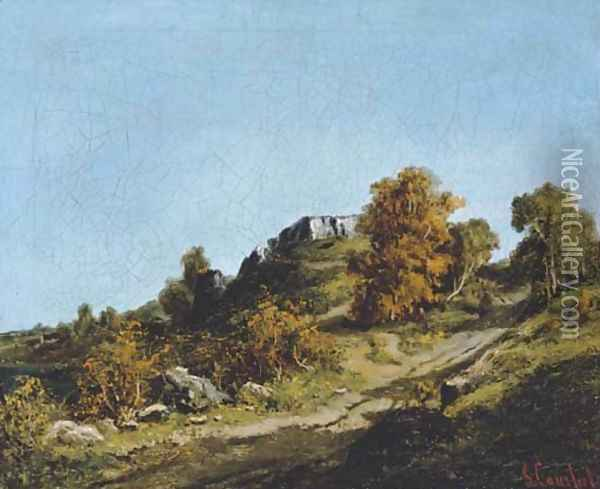 Paysage aux environs d'Ornans Oil Painting - Gustave Courbet