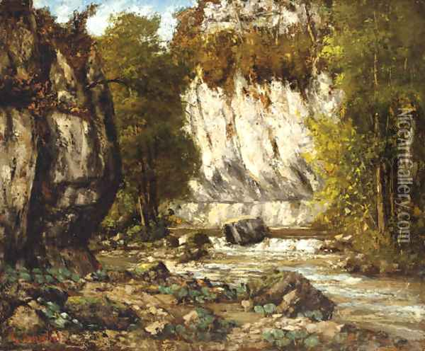 Riviere et falaise Oil Painting - Gustave Courbet