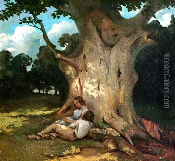 The Large Oak Oil Painting - Gustave Courbet