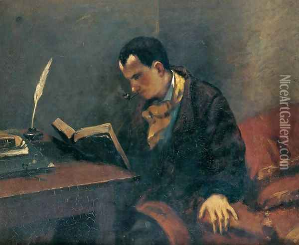 Portrait of Baudelaire Oil Painting - Gustave Courbet