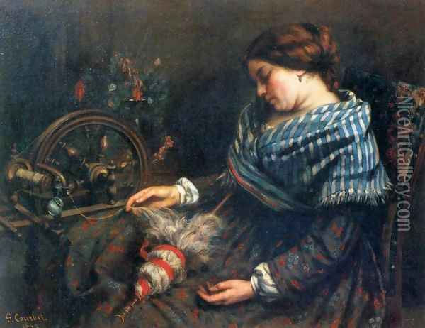 The Sleeping Spinner Oil Painting - Gustave Courbet