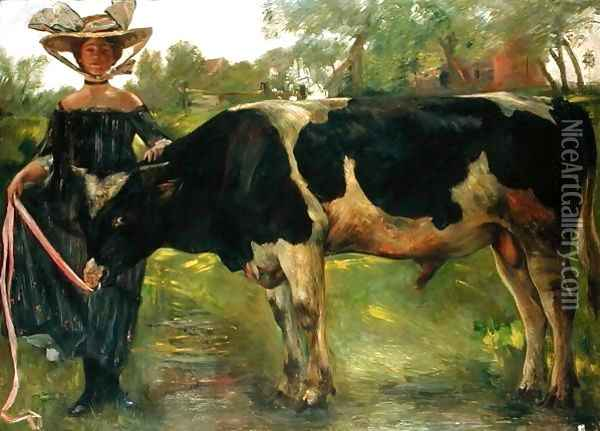 The Painter Charlotte Berend With A Bull, 1902 Oil Painting - Lovis (Franz Heinrich Louis) Corinth